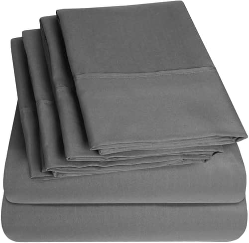Queen Sweet Home Collection Gray Microfiber 1500 Thread Count, Sheet Set(Fitted Sheet, Flat Sheet, Pillow Cases(4))