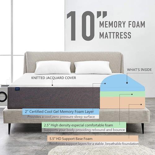 Full Mattress, Molblly 10 Inch Memory Foam Mattress