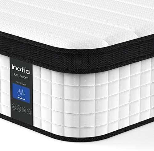 Inofia Twin Mattress, 12 Inch Hybrid Innerspring Single Mattress in a Box, Cool Bed with Breathable Soft Knitted Fabric Cover