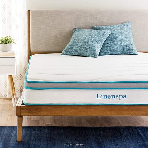 Linenspa 8 Inch Memory Foam and Innerspring Hybrid Medium-Firm Feel-King Mattress