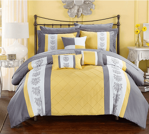 Chic Home Color Block Embroidery Twin Bed in a Bag