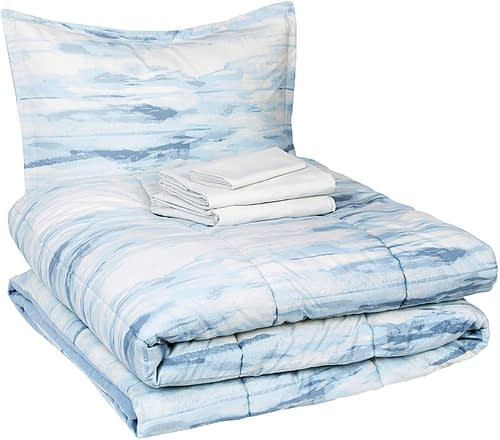 Amazon Basics 6-Piece Comforter Bedding Set, Twin / Twin XL, Blue Watercolor, Microfiber, Ultra-Soft