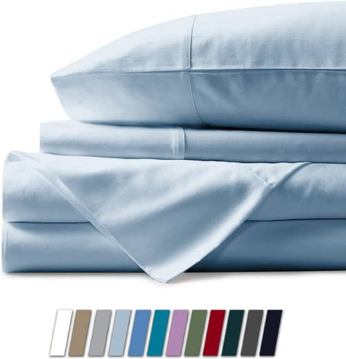 Mayfair Linen 1000 Thread Count Best Bed Sheets 100% Egyptian Cotton Sheets Set-Sky Blue Long-Staple Cotton King Sheet for Bed, Fits Mattress Upto 18'' Deep Pocket, Soft & Silky Sateen Weave Sheets.