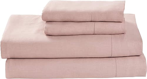 Amazon Brand – Stone & Beam Belgian Flax Linen Bed Sheet Set, Breathable and Durable, Full, Rose