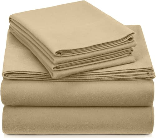 Pinzon Signature 190-Gram 100% Cotton Heavyweight Velvet Flannel Bed Sheet Set, Queen, Floral Amethyst