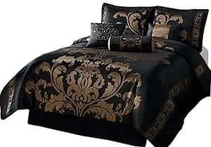 Chezmoi Collection 7-Piece Jacquard Floral Comforter Set Bed-in-a-Bag, California King